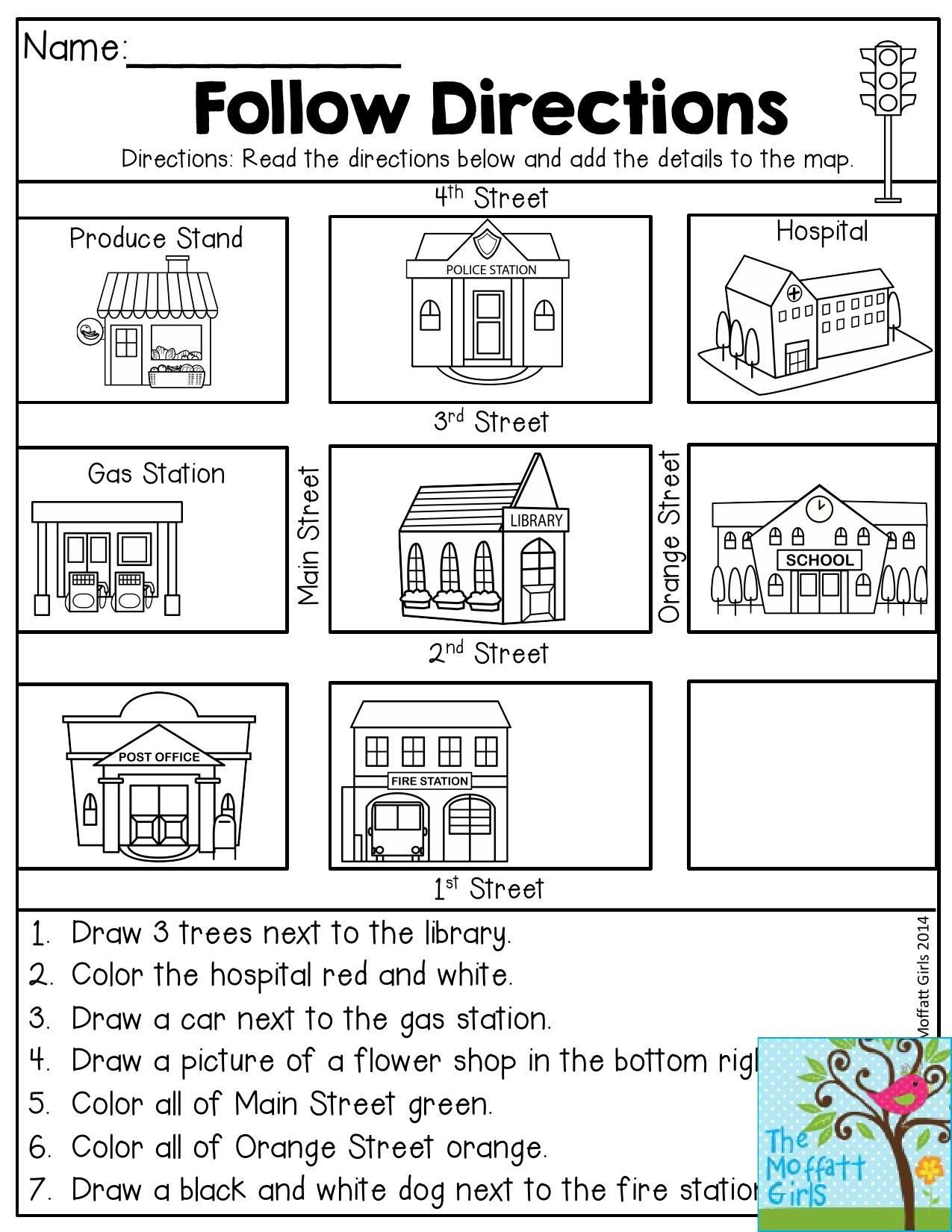 1st Grade Map Skills Worksheets Follow Directions Read the Directions and Add the Details
