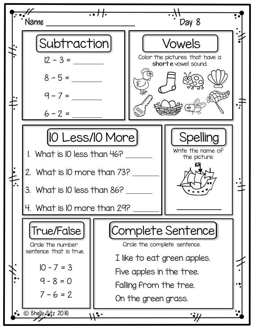 1st Grade Morning Work Worksheets First Grade Morning Work Freebie Distance Learning