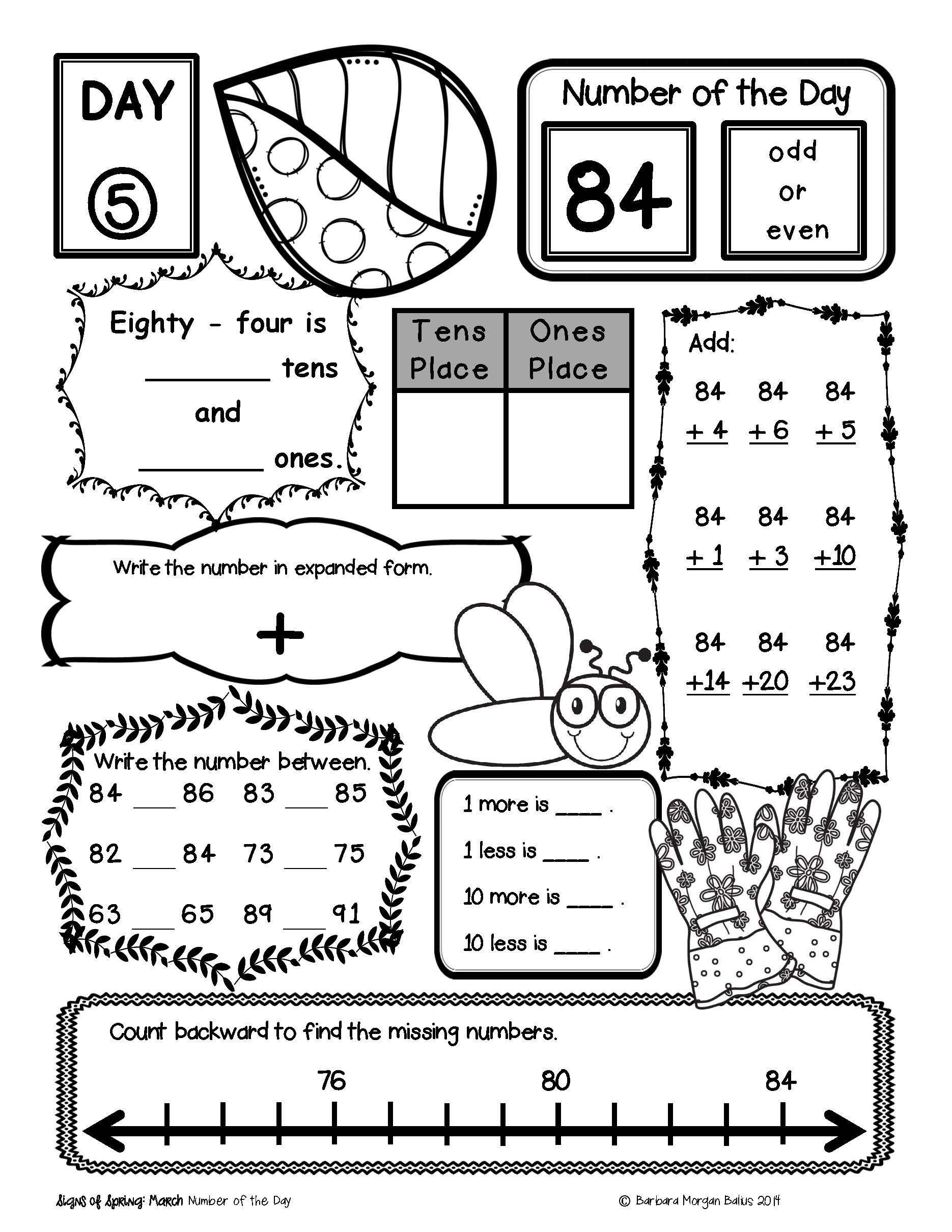 1st Grade Morning Work Worksheets Place Value Number Sense Practice the Morning Work Spring