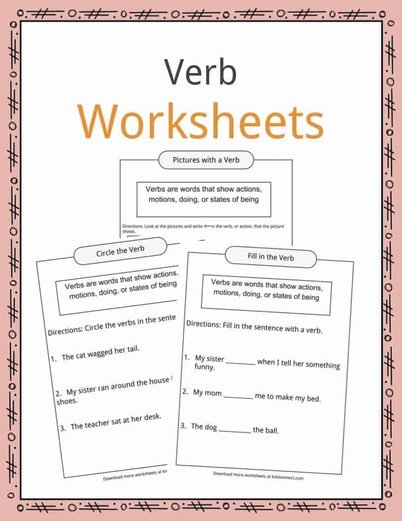2nd Grade Editing Worksheets Verbs Definition Worksheets & Examples In Text for Kids
