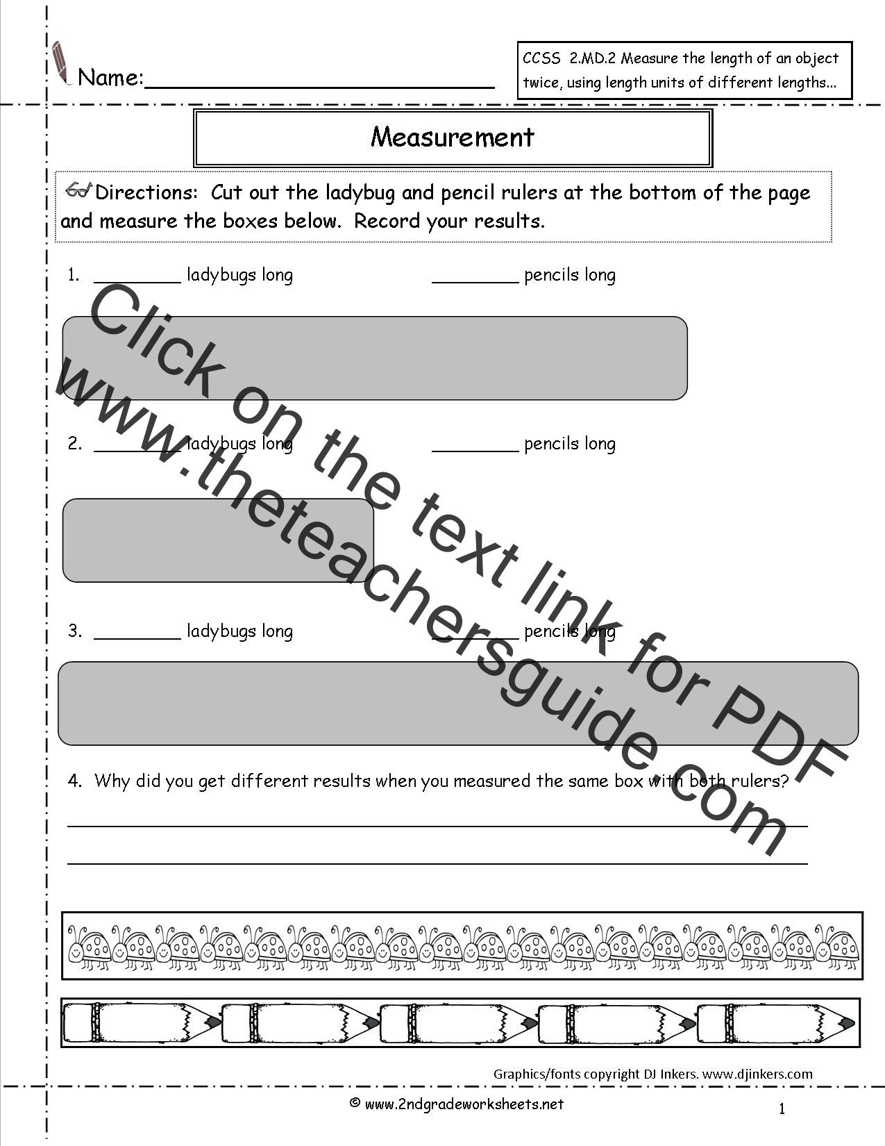 2nd Grade Measurement Worksheets Ccss 2 Md 2 Worksheets Measuring and Estimating Lengths