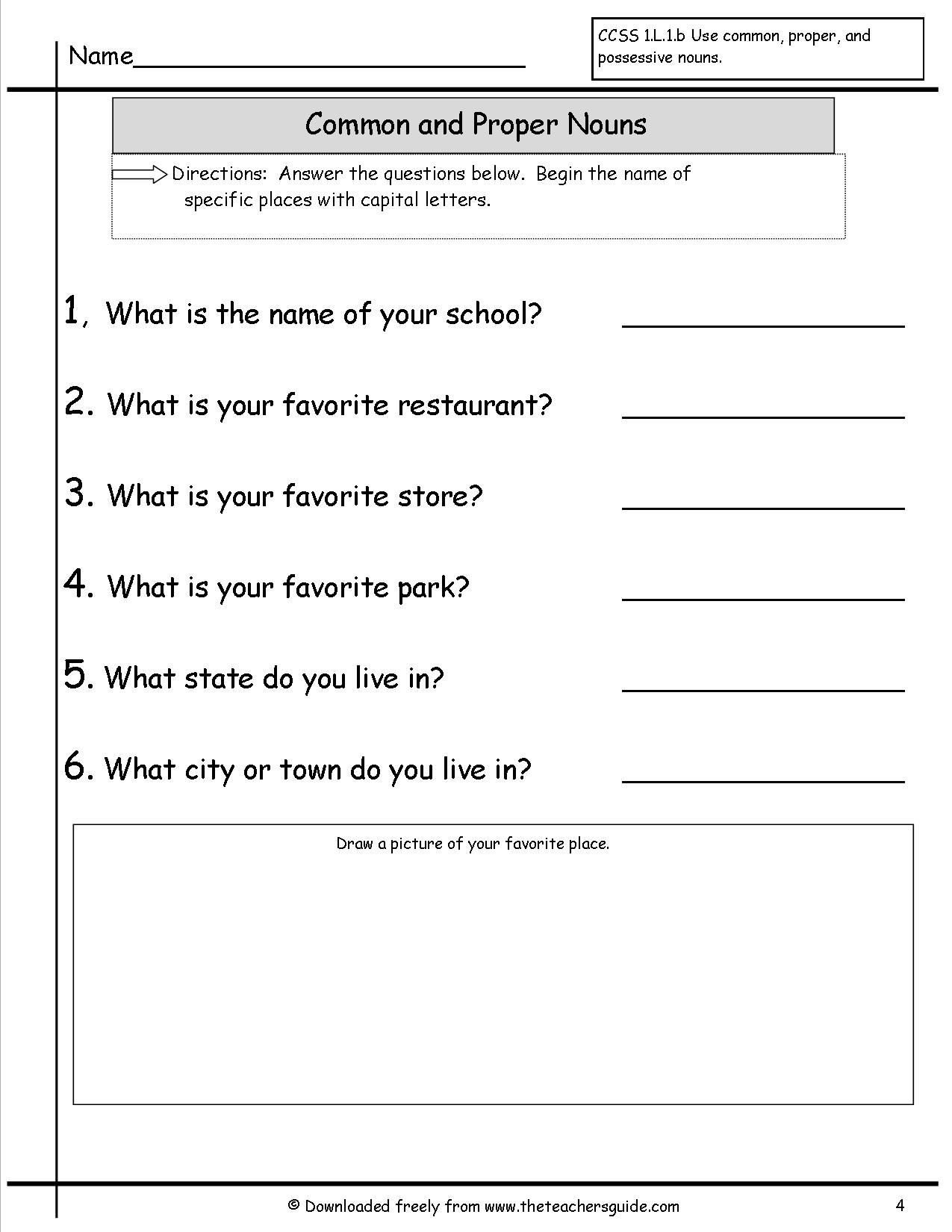 2nd Grade Noun Worksheets Noun Worksheets 4th Grade