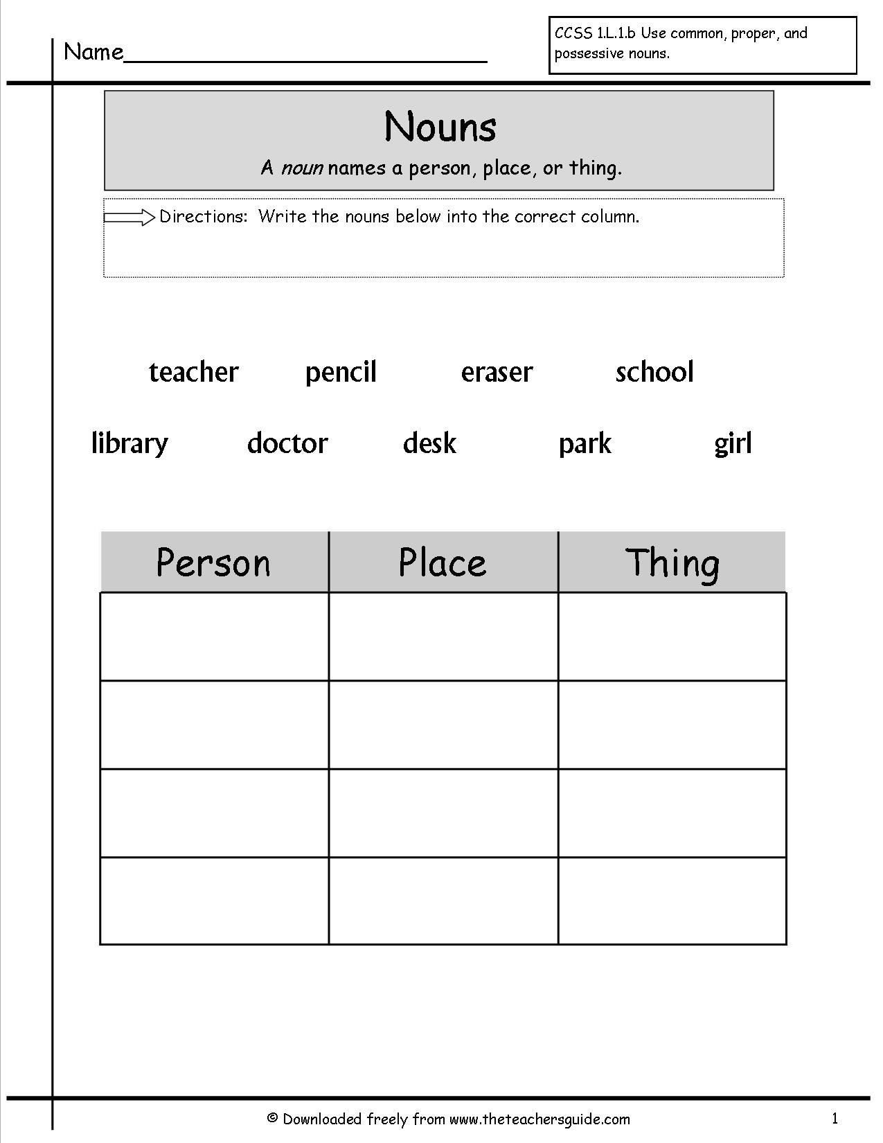 2nd Grade Noun Worksheets Noun Worksheets for Grade 1
