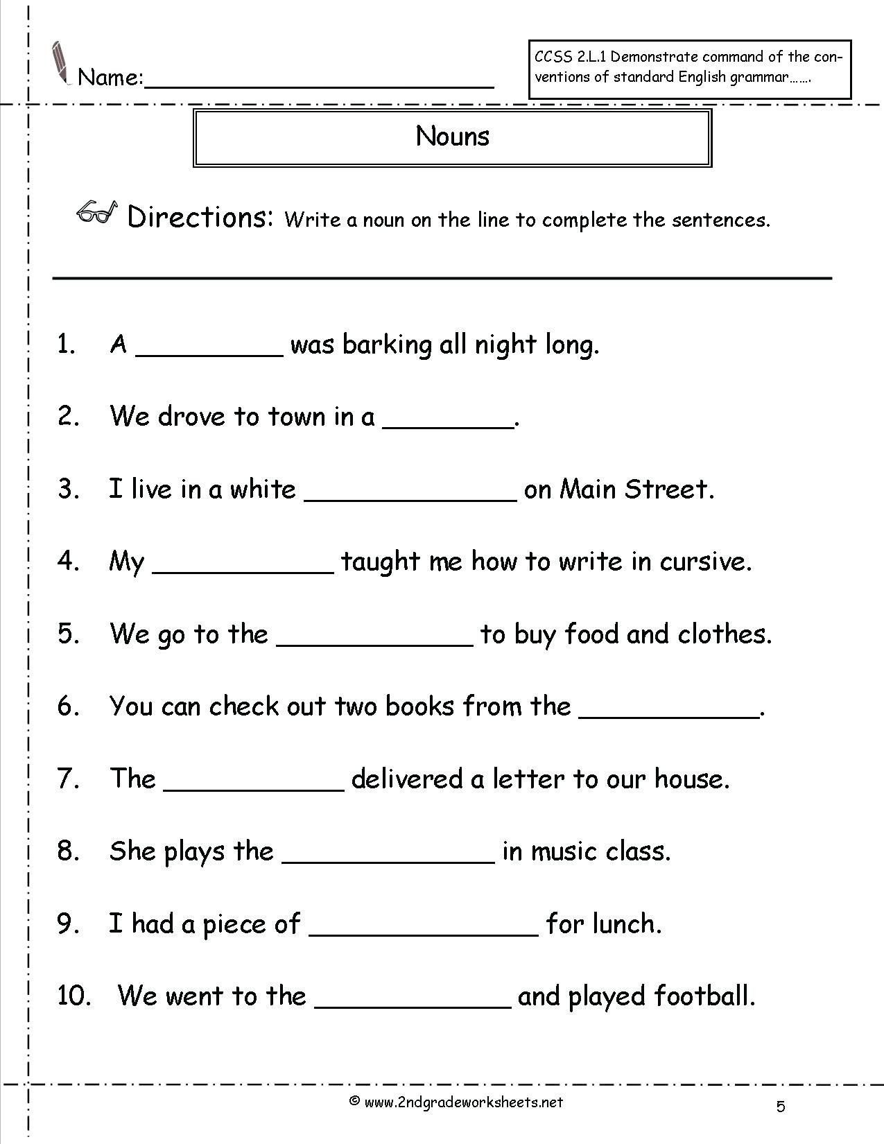 2nd Grade Noun Worksheets Pin On Educational Worksheets Template