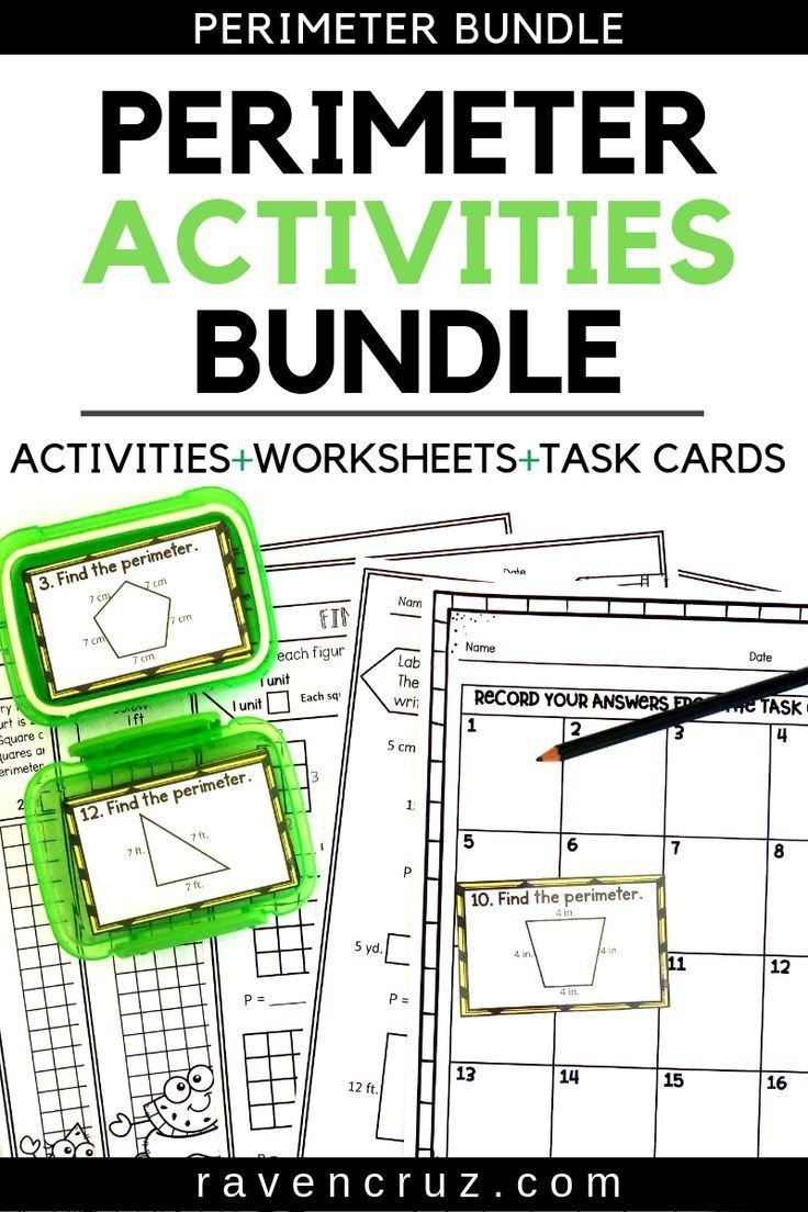 2nd Grade Perimeter Worksheets Perimeter Worksheets and Task Cards Summer themed