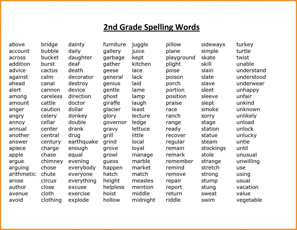 2nd Grade Spelling Worksheets 2nd Grade Spelling Words Best Coloring Pages for Kids