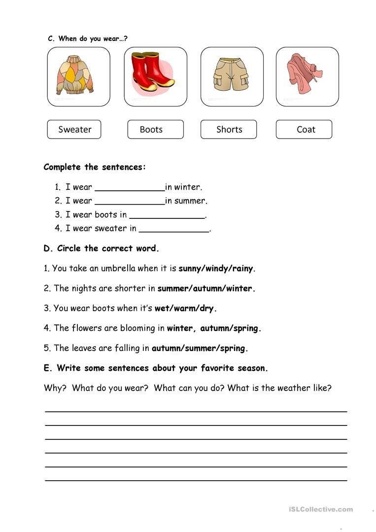 2nd Grade Weather Worksheets Seasons and Weather Worksheet Free Esl Printable