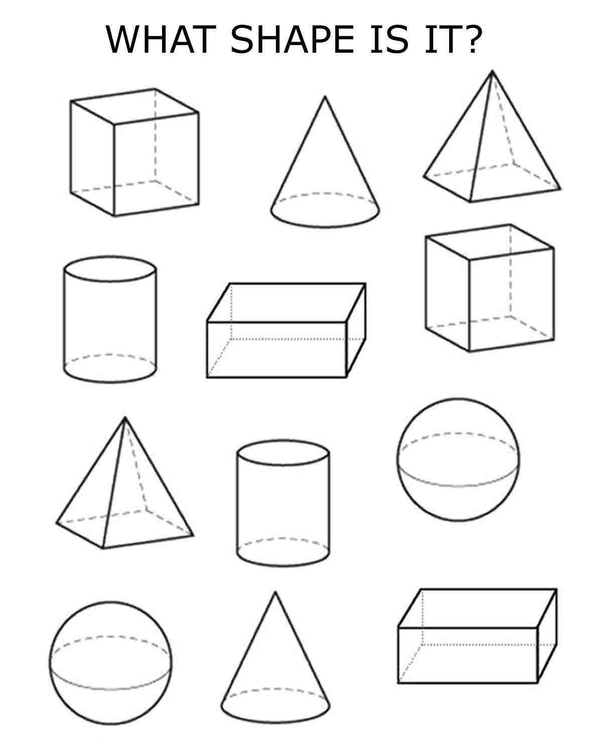 3d Shapes Worksheet Kindergarten Free Printables for Kids
