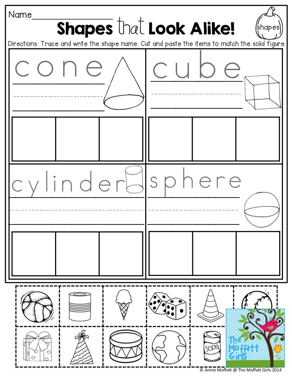 3d Shapes Worksheet Kindergarten Pin On Centers for Math