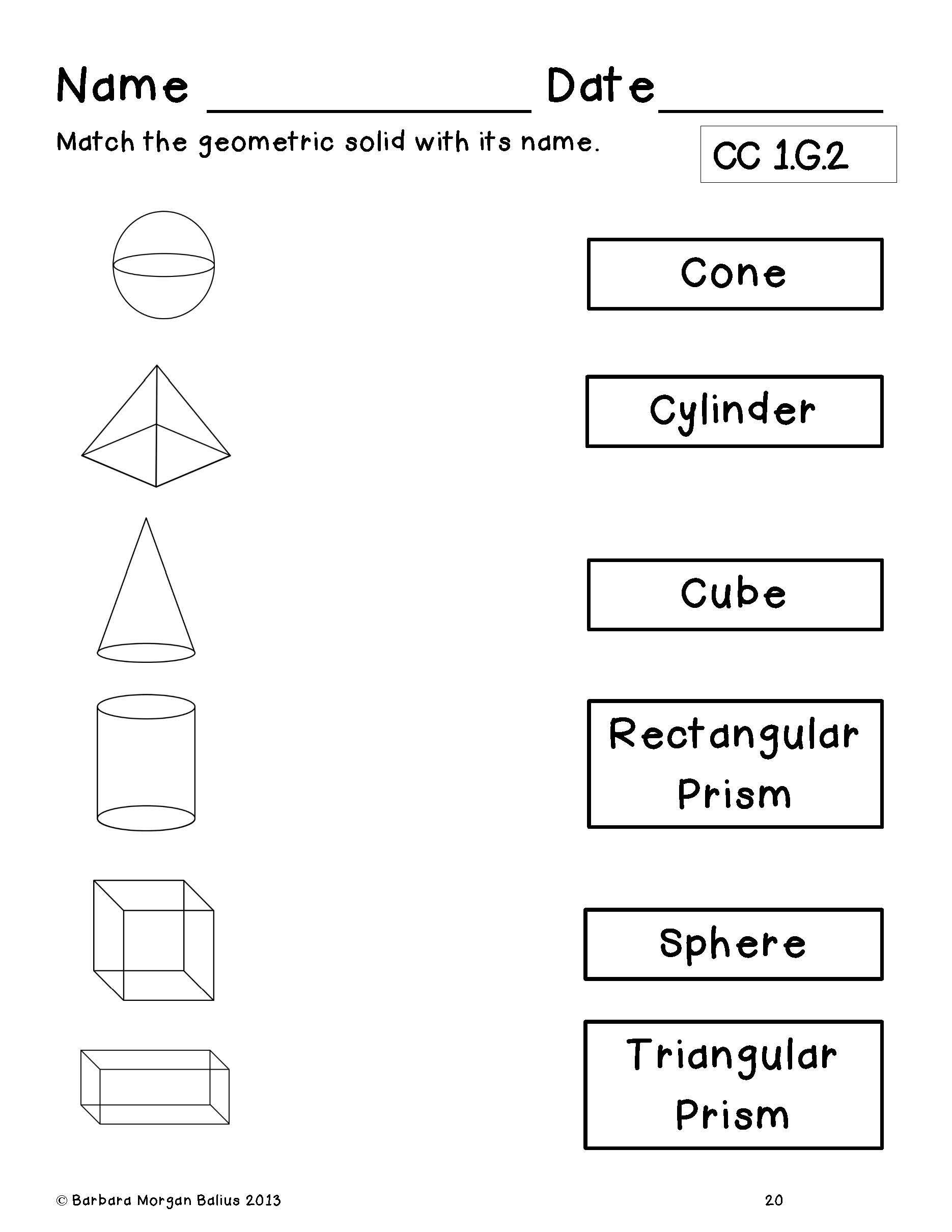 3d Shapes Worksheets 2nd Grade First Grade End Of Year Review