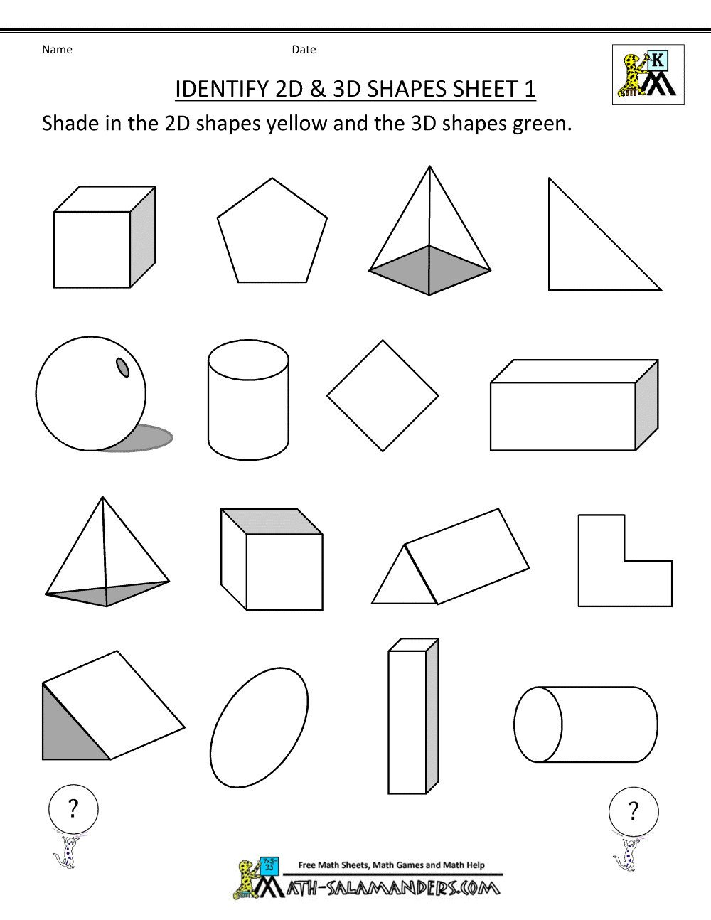 printable math geometryeets grade for shape and form instead have them shade of learning