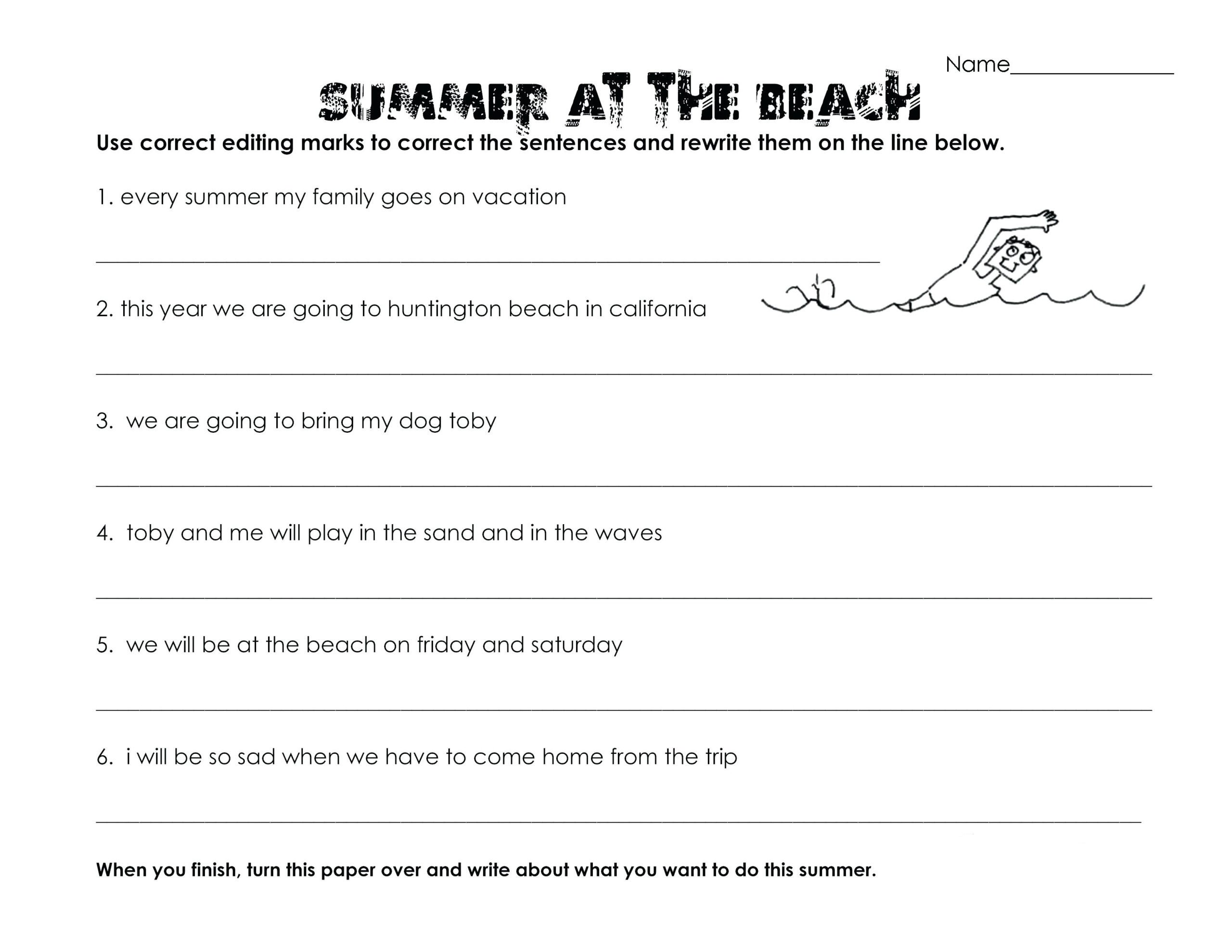 3rd Grade Editing Worksheets 3rd Grade Worksheets Best Coloring for Kids Summer Fun