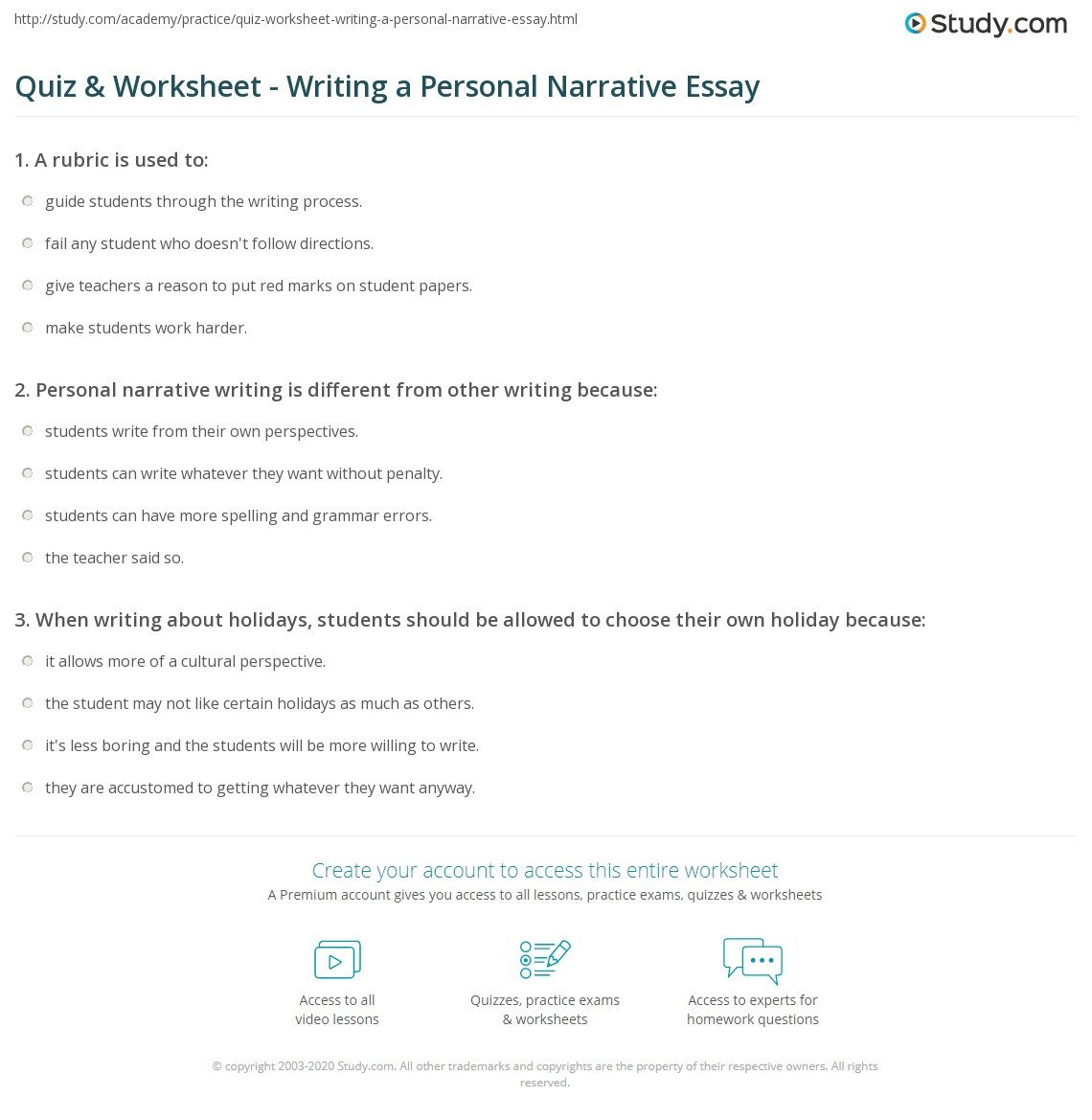 3rd Grade Essay Writing Worksheet Personal Narrative Worksheet