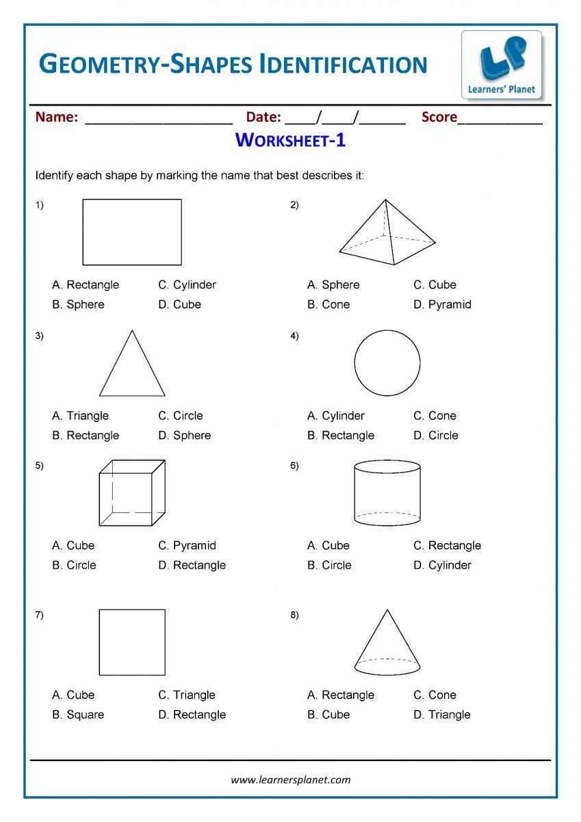 Geometry worksheets for 3rd grade students