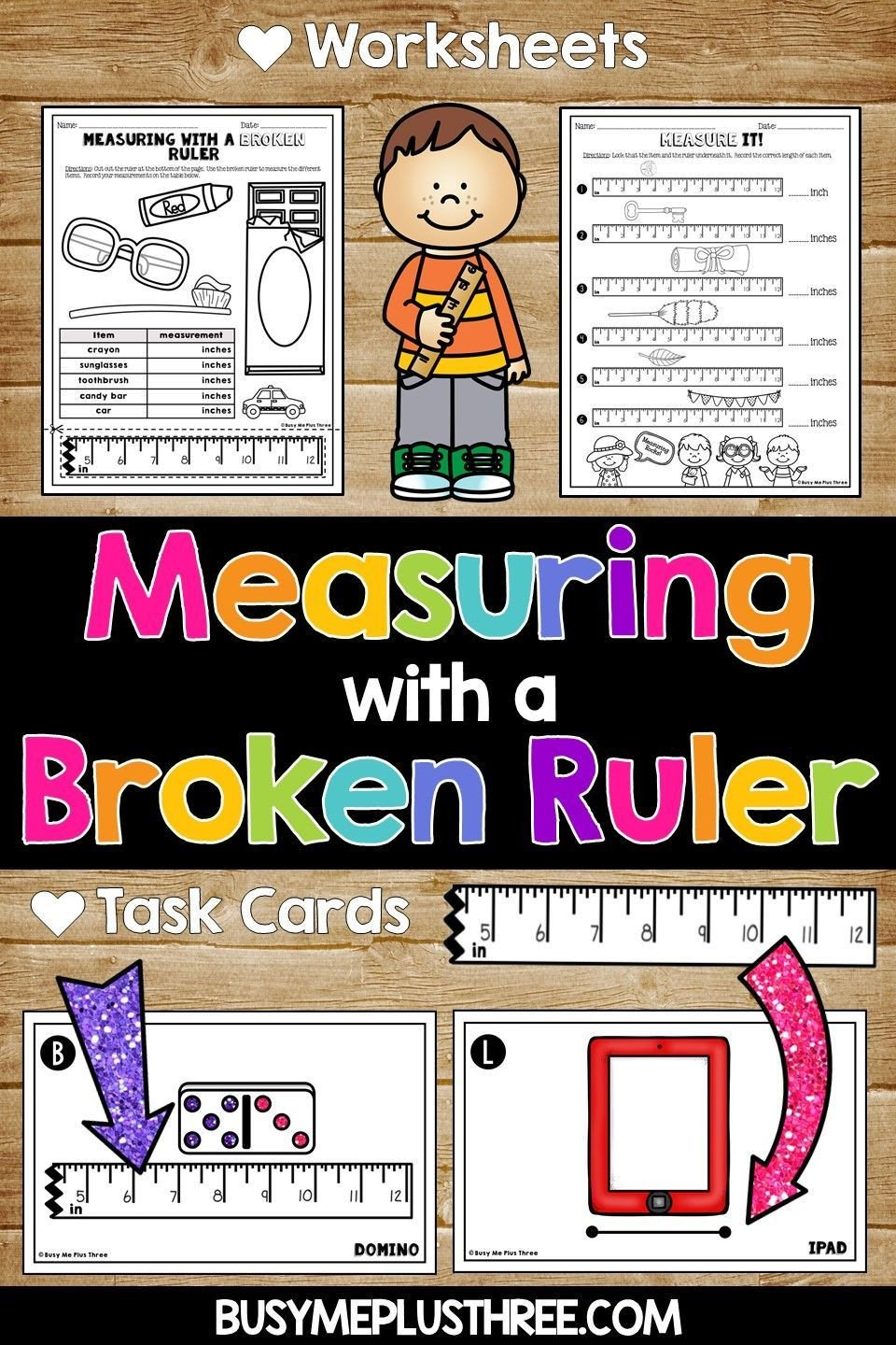 3rd Grade Measuring Worksheets Measuring with A Broken Ruler Task Cards Posters and