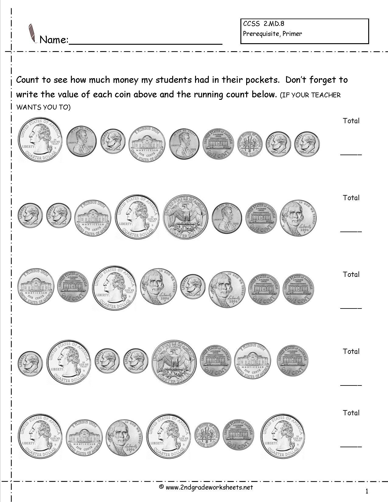 3rd Grade Money Worksheets Counting Coins and Money Worksheets Printouts Sets Free