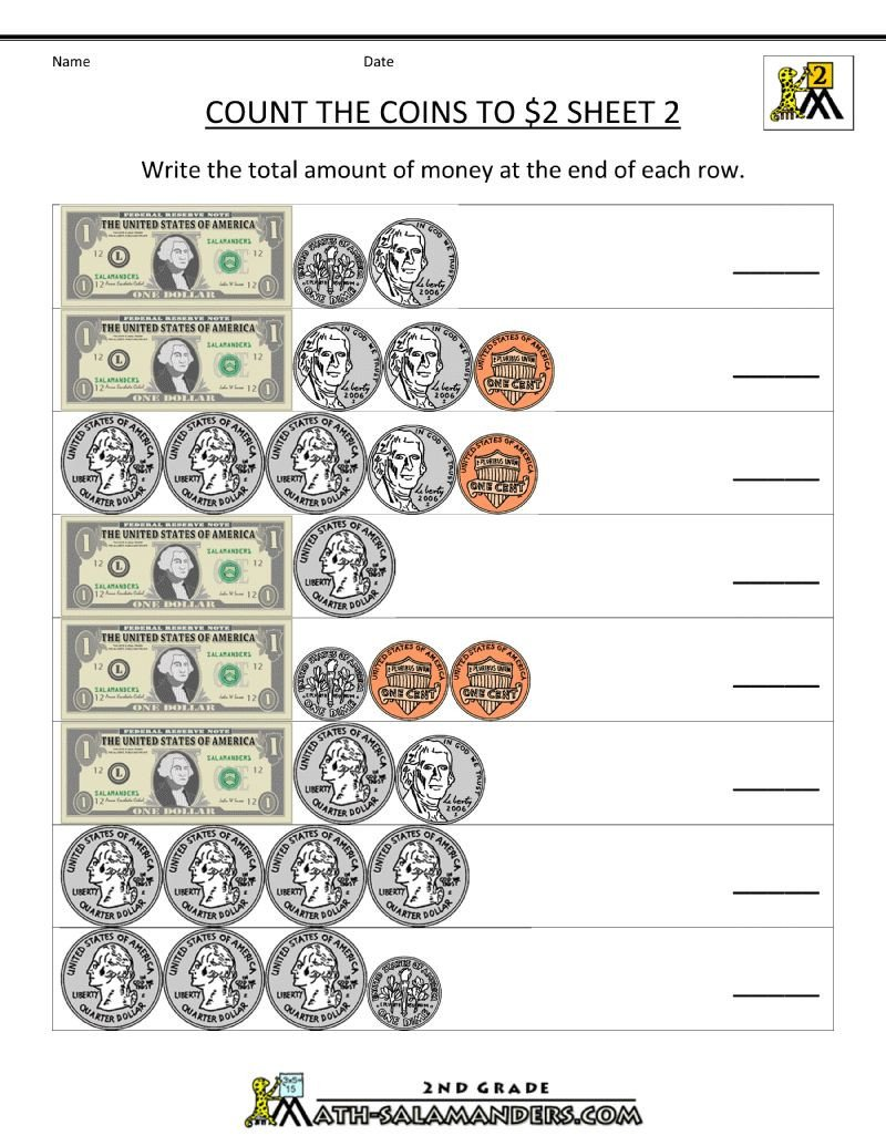 3rd Grade Money Worksheets Second Math