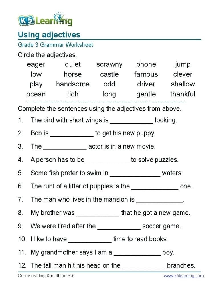 4th Grade Grammar Worksheets Pdf Line Worksheets for Grade 4