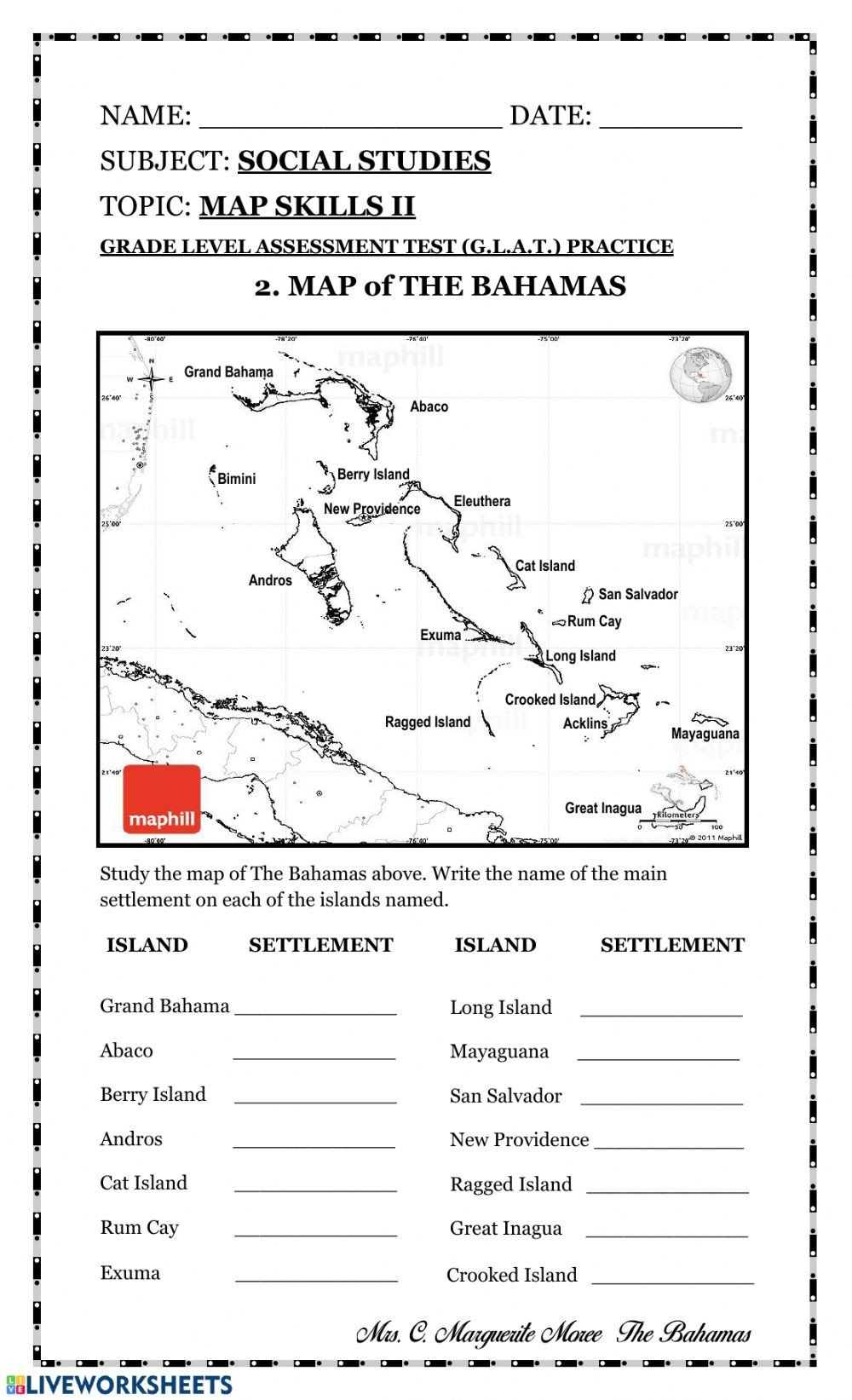 4th Grade Map Skills Worksheets Map Skills Test Pdf