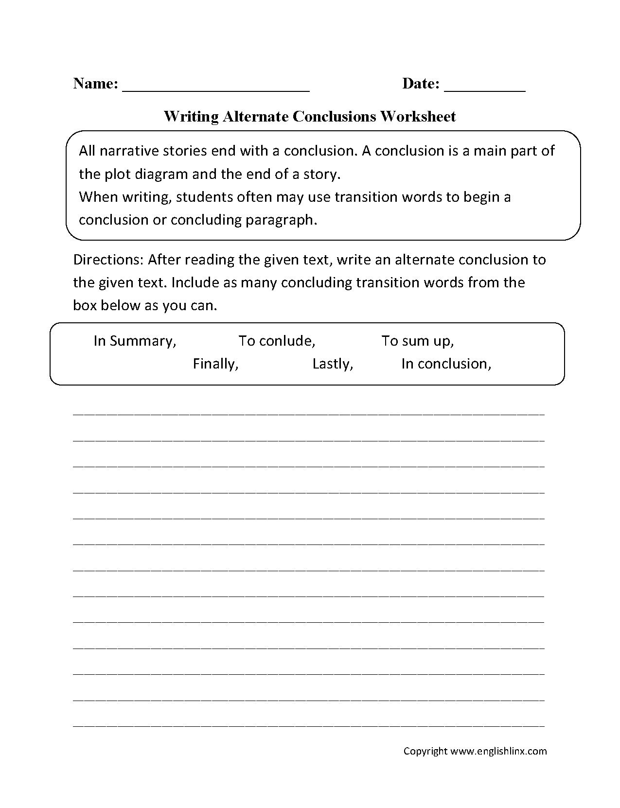 027 englishlinx writing conclusions worksheets pertaining to conclusion paragraph examples 5th grade research