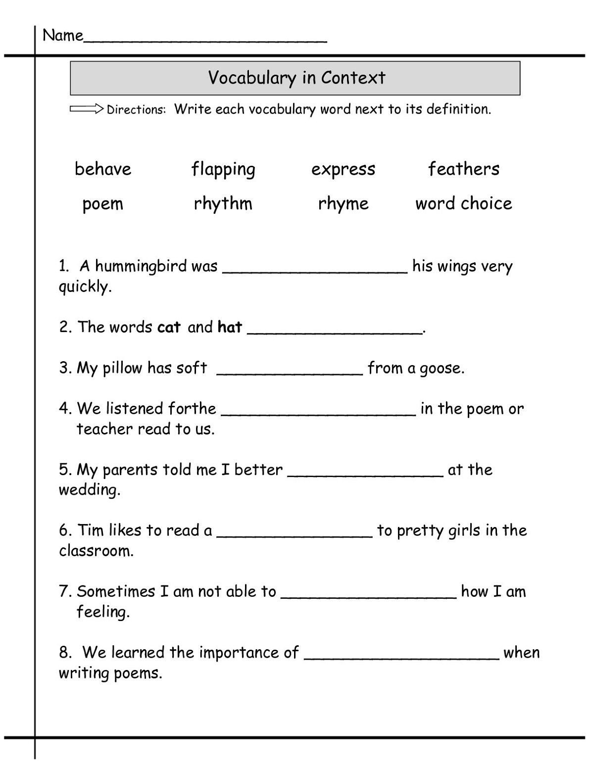 4th Grade Vocabulary Worksheets Pdf Language Worksheets