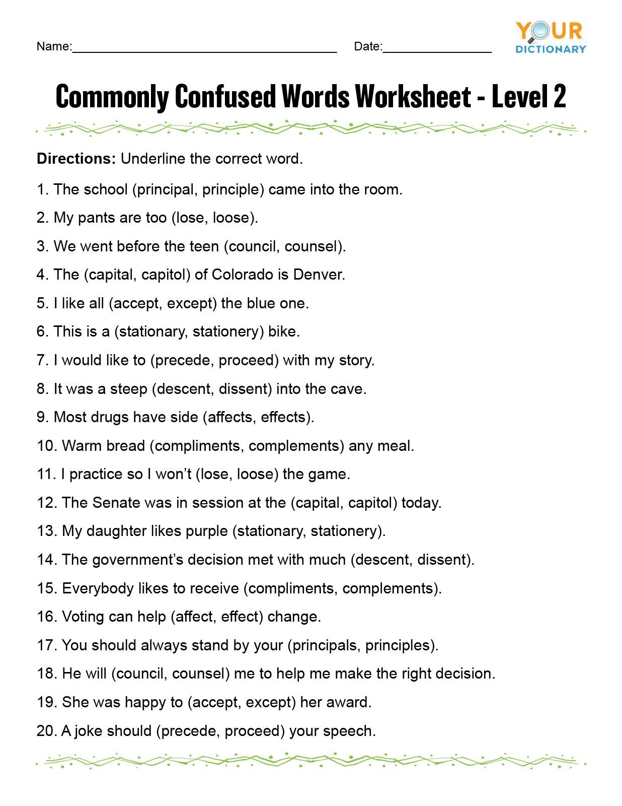 monly confused words worksheet2se