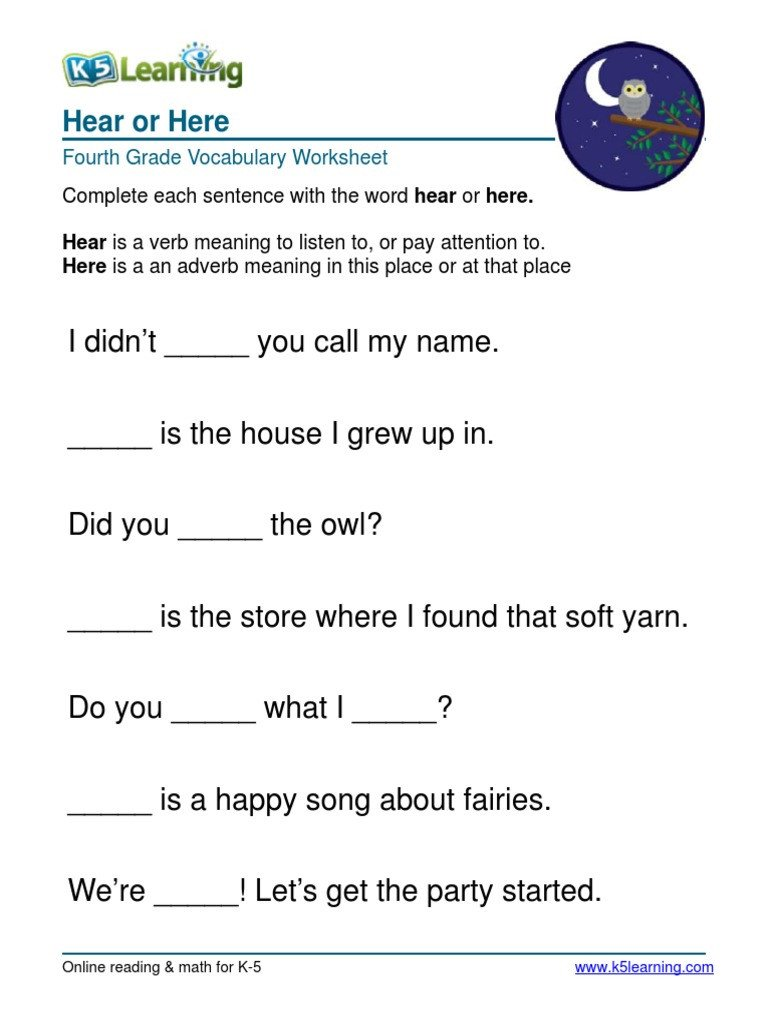 Vocabulary 4th Grade Hear or Here Fourth Grade 4 Vocabulary Worksheet 4