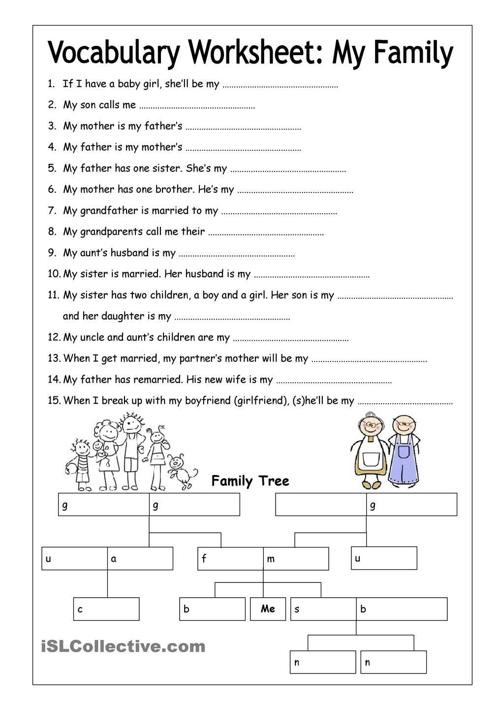 4th Grade Vocabulary Worksheets Pdf Vocabulary Worksheet My Family Medium Hojas Trabajo English
