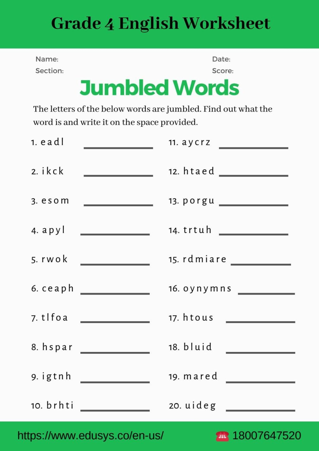 worksheet Worksheet 4th Grade English Vocabulary Pdf By