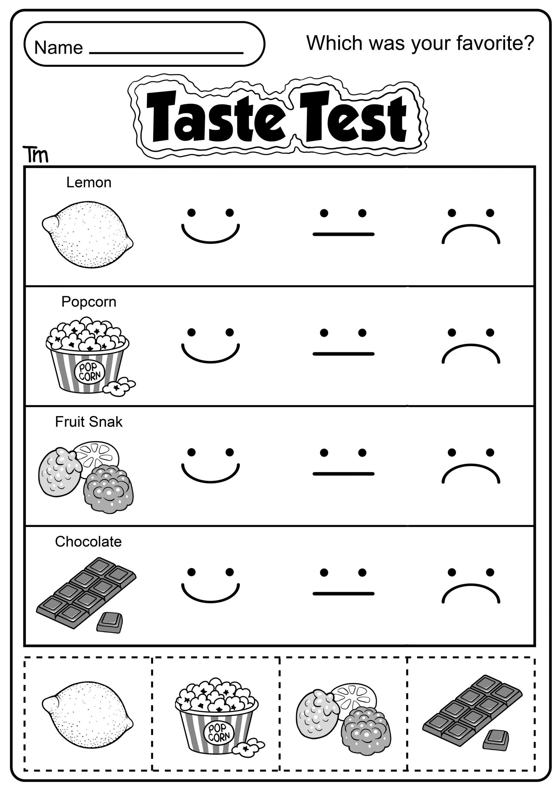 5 Senses Kindergarten Worksheets the Five Senses Taste Test Teachersmag
