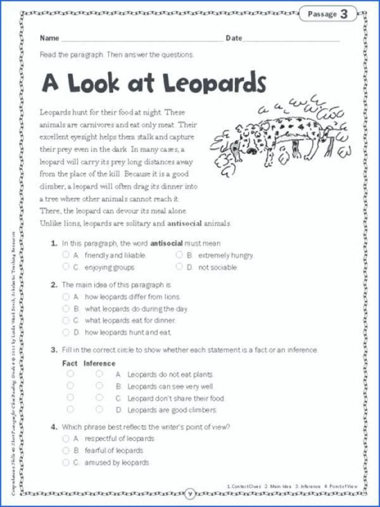 5th Grade Main Idea Worksheet Main Idea Worksheets 5th Grade for Printable Math Graders