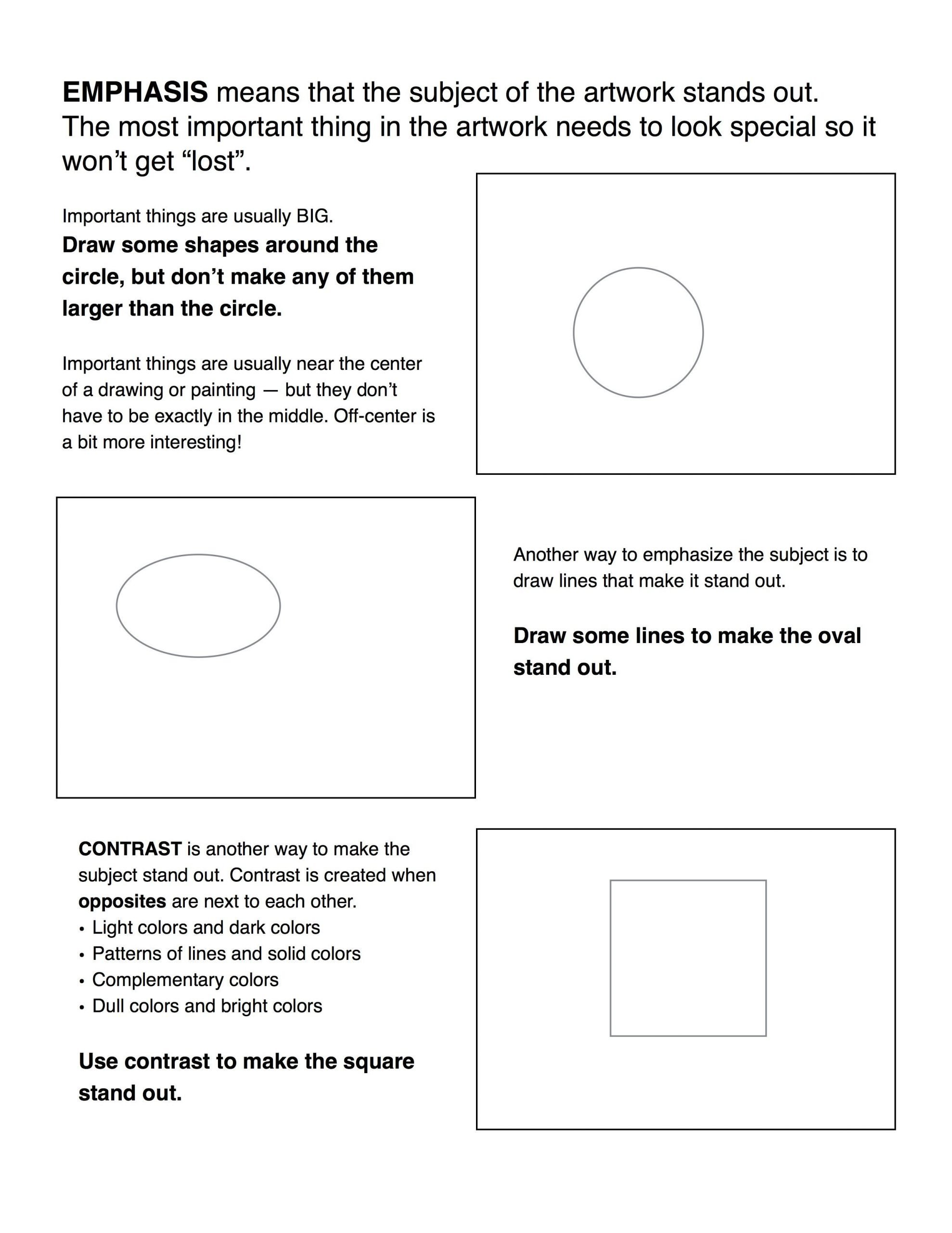 6th Grade Art Worksheets Emphasis Contrast Worksheet