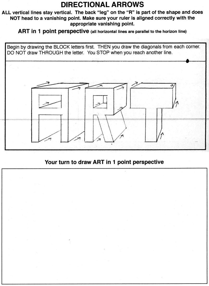 6th Grade Art Worksheets Great Resource for Teaching One Point Perspective