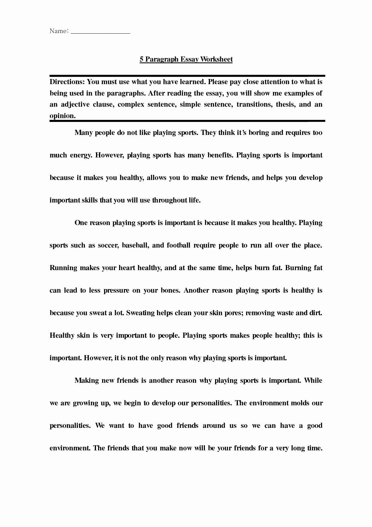 6th Grade Essay Writing Worksheets Example 5 Paragraph Essay Best 6th Grade Persuasive