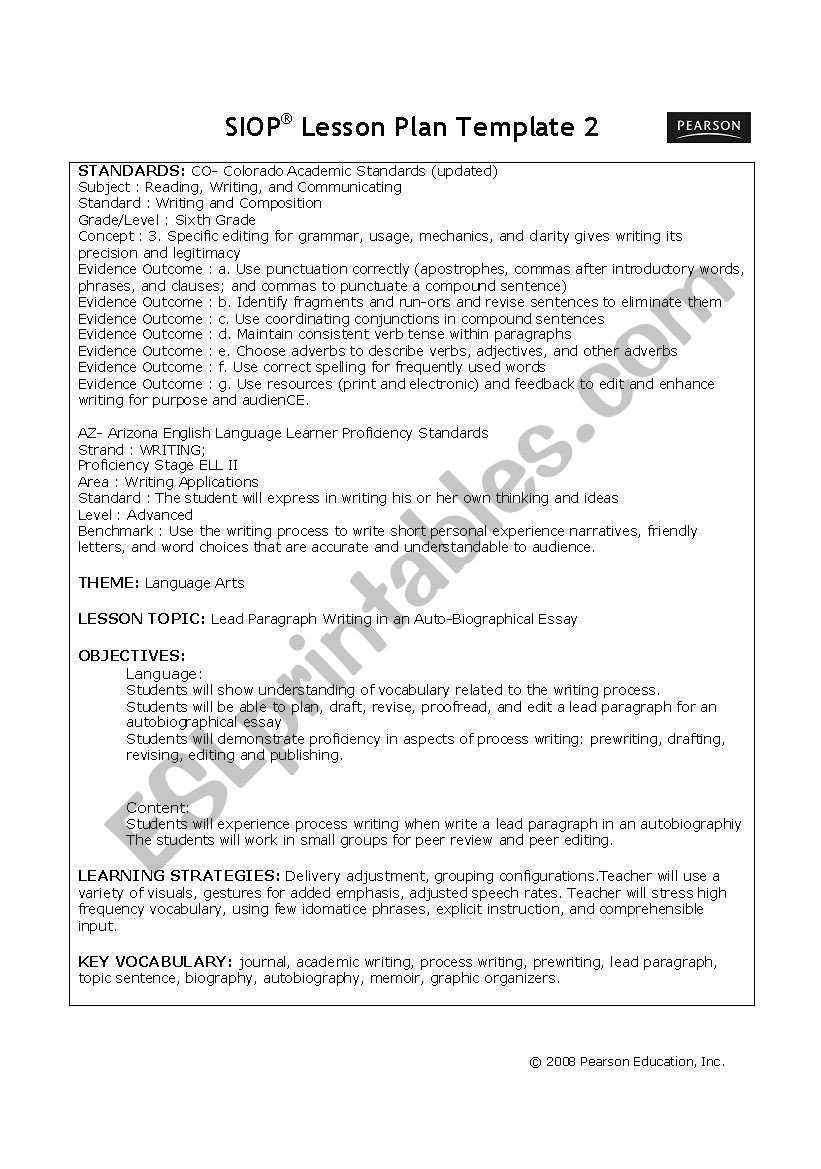 6th Grade Essay Writing Worksheets Language Arts 6th Grade Lesson Plan Esl Worksheet by