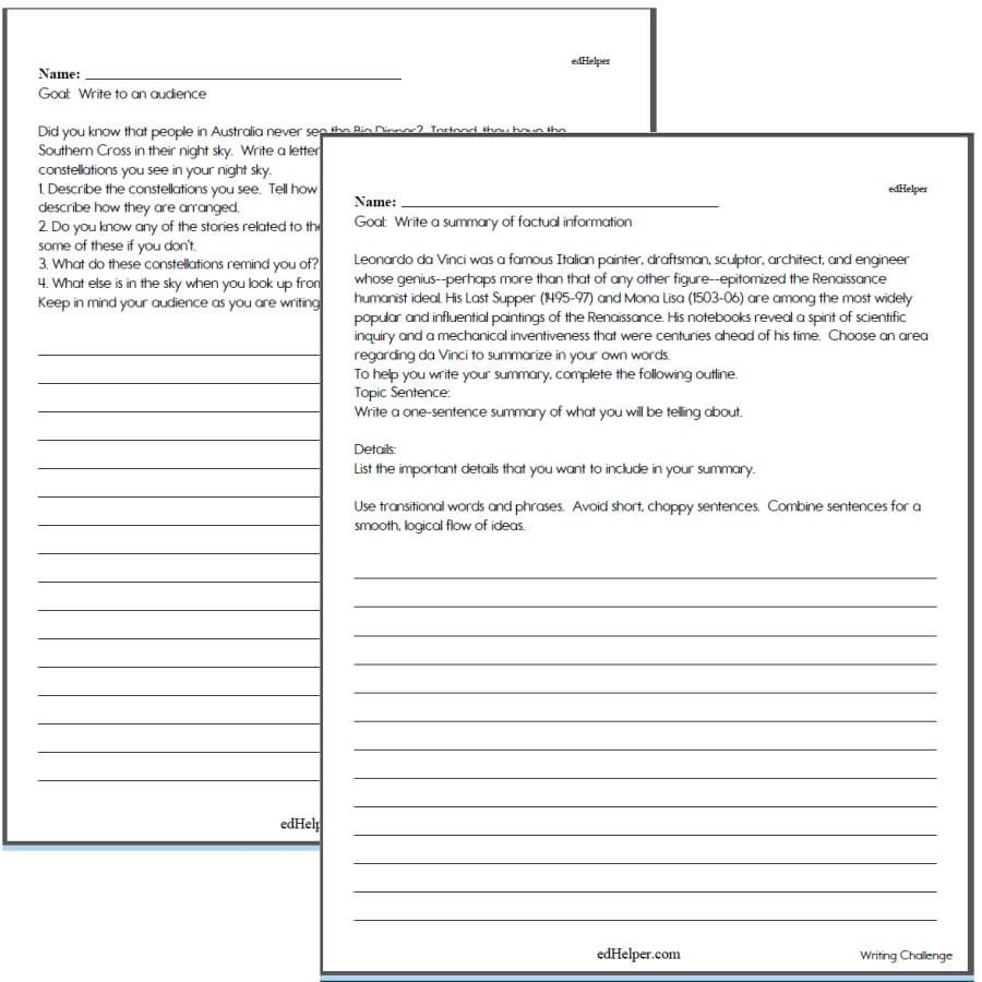6th Grade Essay Writing Worksheets Writing Worksheets for Creative Kids