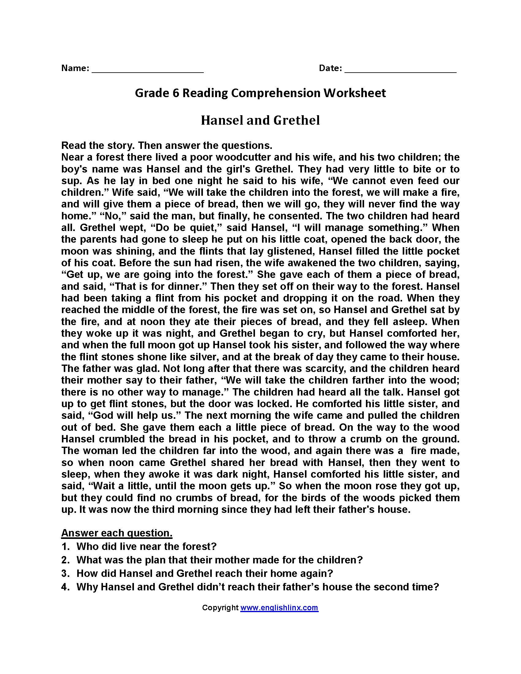 6th Grade Reading Worksheets 7 Year 6 Reading Prehension In 2020