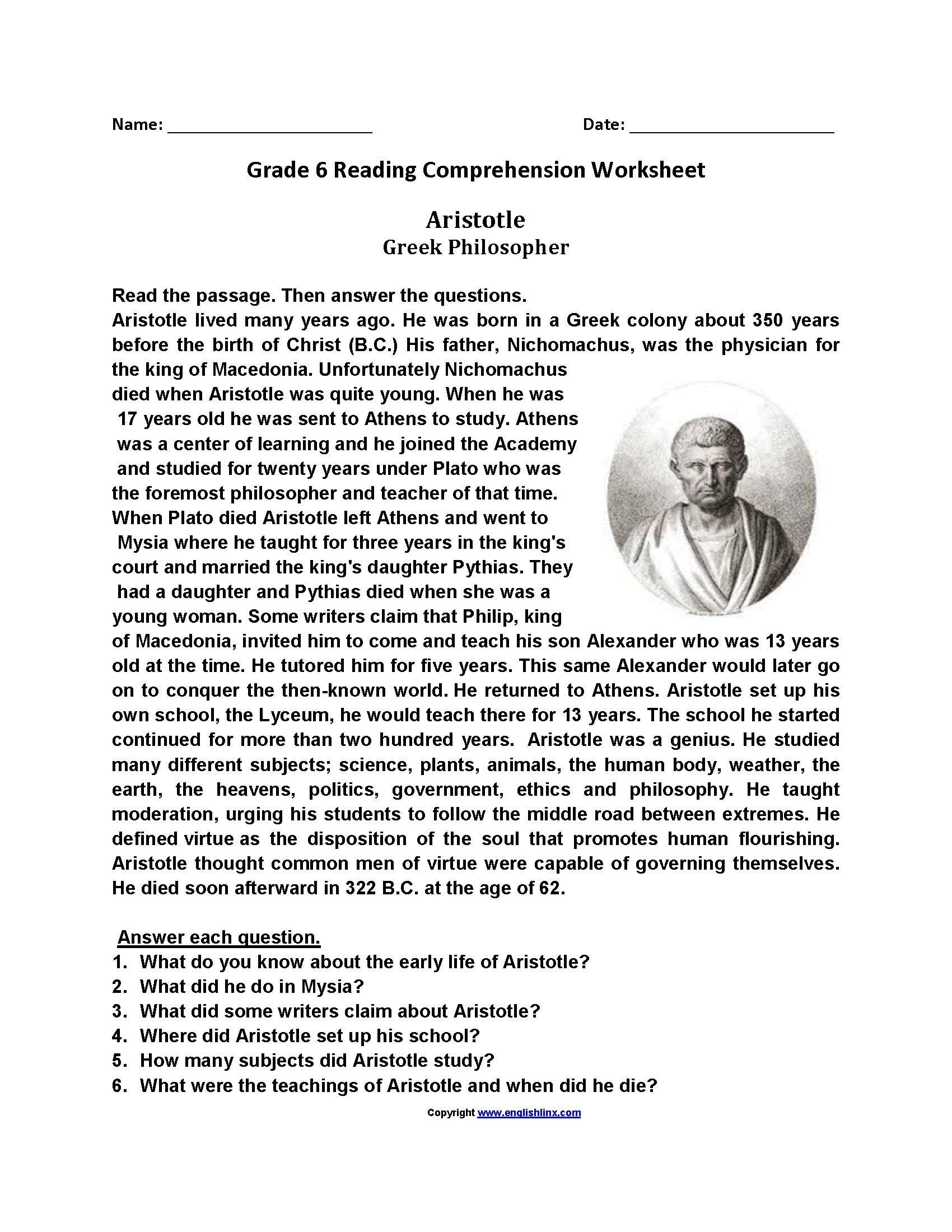 6th Grade Reading Worksheets Free Printable Reading Worksheets for Grade 6 в 2020 г