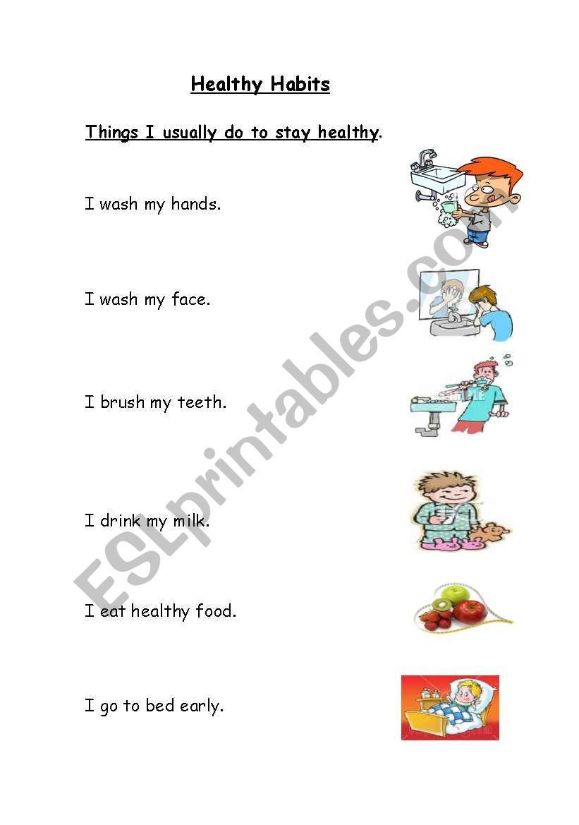 7 Habits for Kids Worksheets Healthy Habits Esl Worksheet by Bdayekh