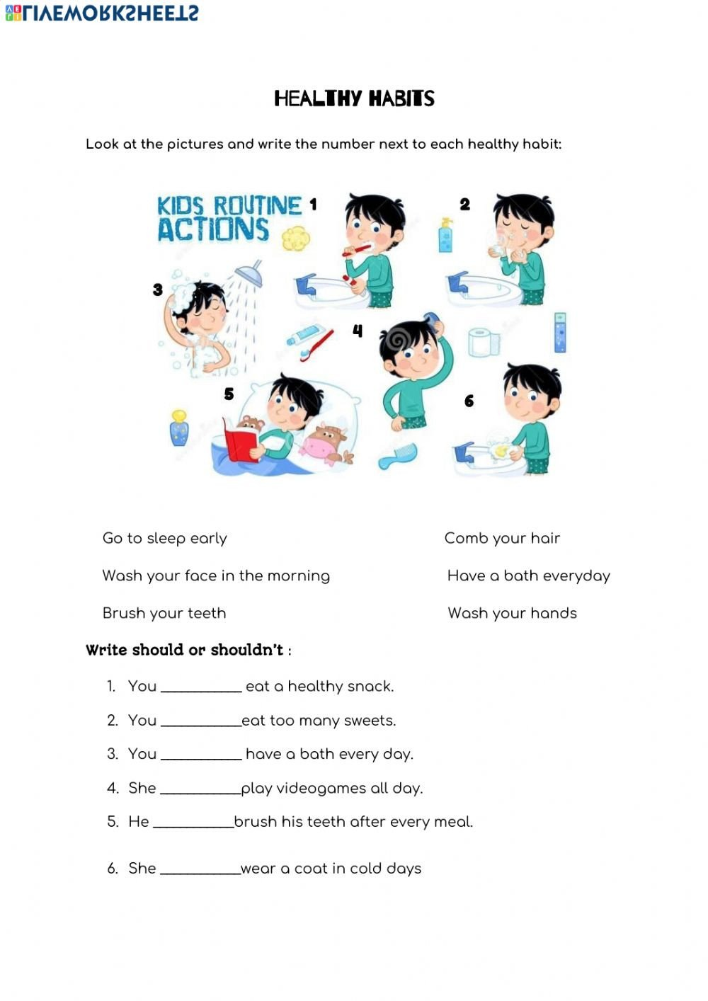 7 Habits for Kids Worksheets Healthy Habits Interactive Worksheet