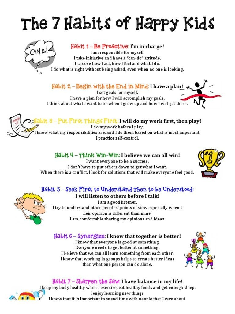 7 Habits for Kids Worksheets the 7 Habits Of Happy Kids Free as Pdf File Pdf