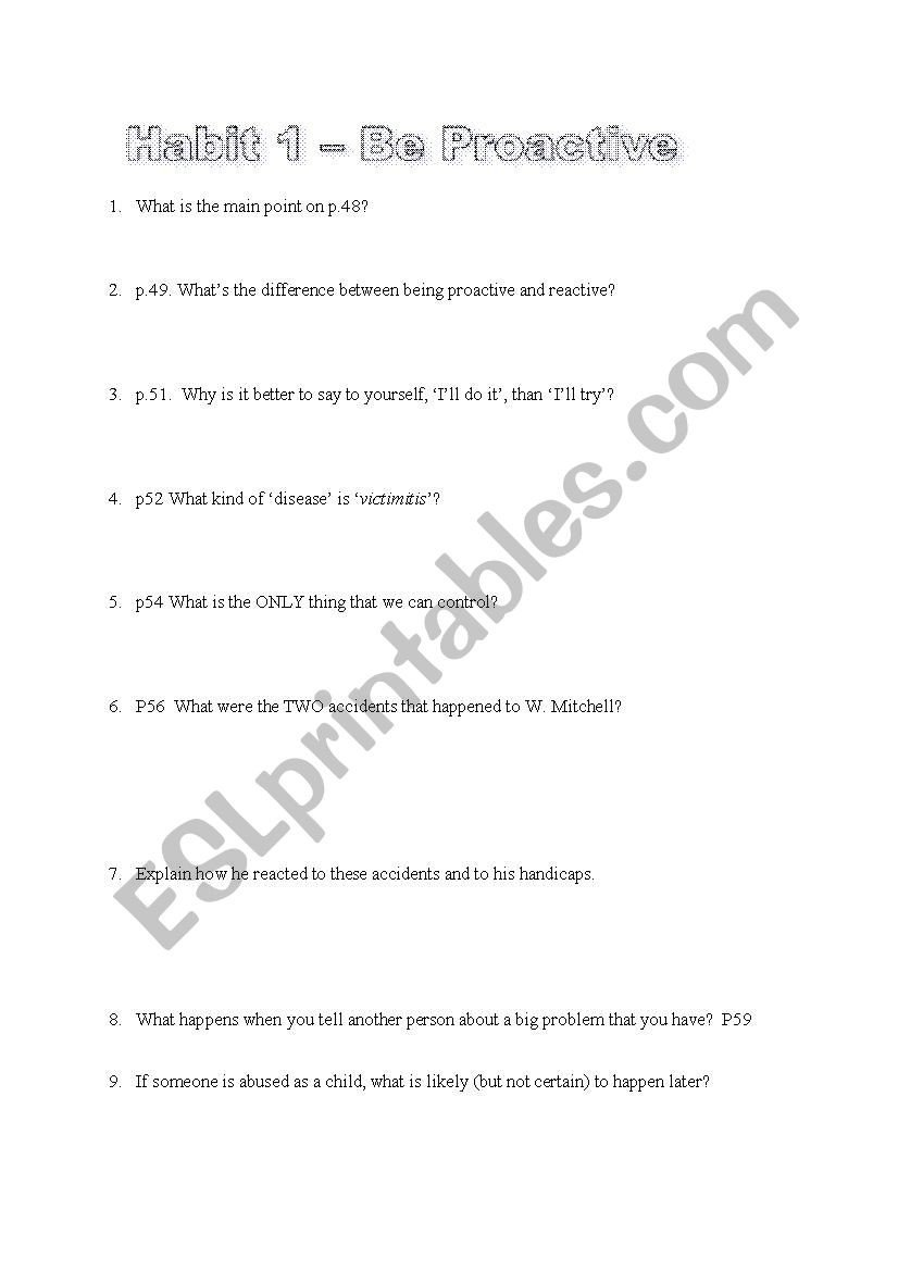 7 Habits for Kids Worksheets the 7 Habits Of Highly Effective Teens Esl Worksheets