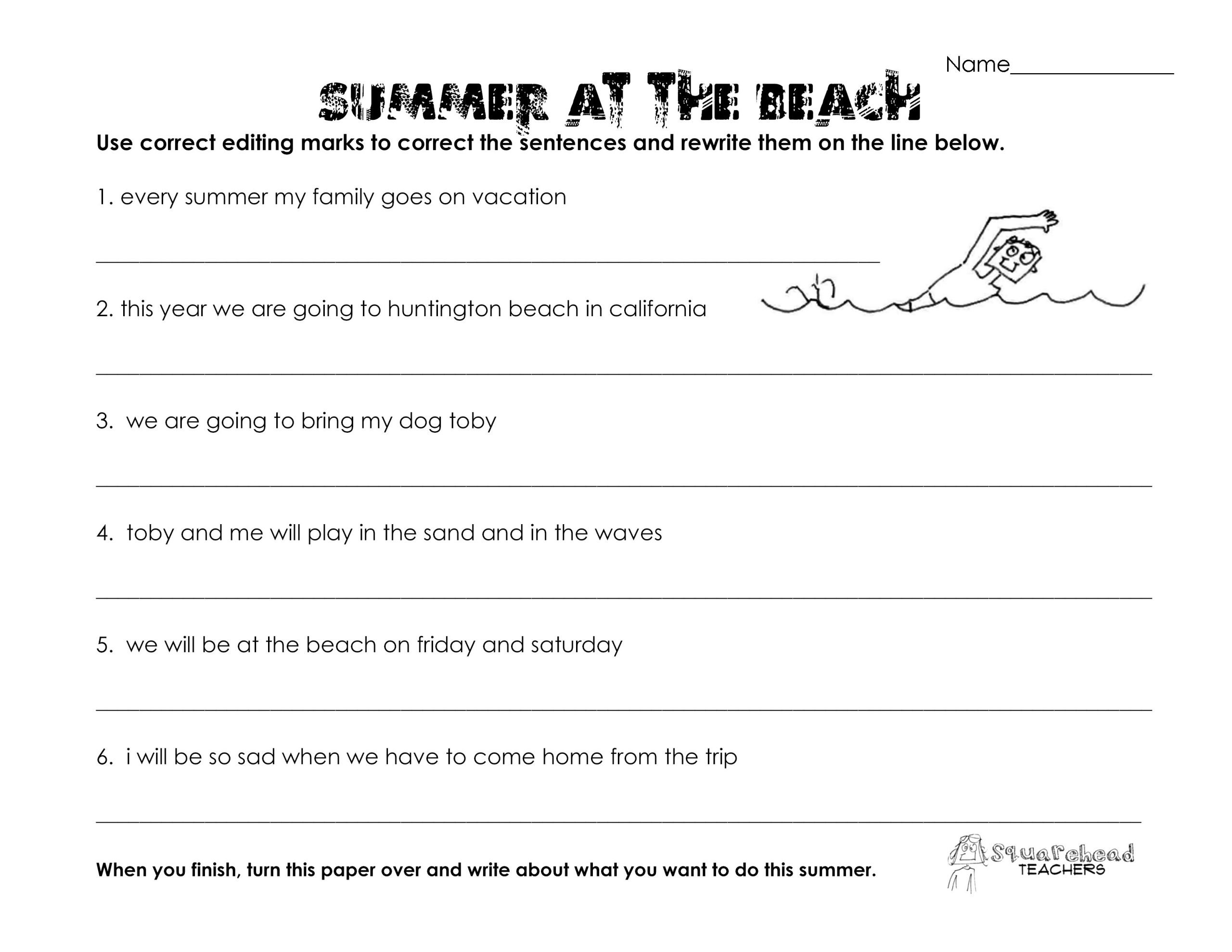 7th Grade Grammar Worksheets Pdf Summer at the Beach Grammar Worksheet