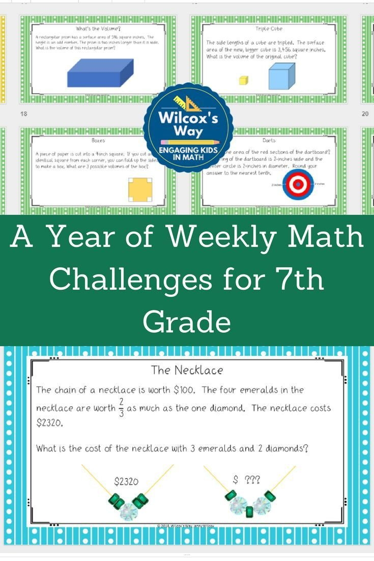 7th Grade Math Enrichment Worksheets A Year Of Weekly Math Enrichment Challenges for 7th Grade