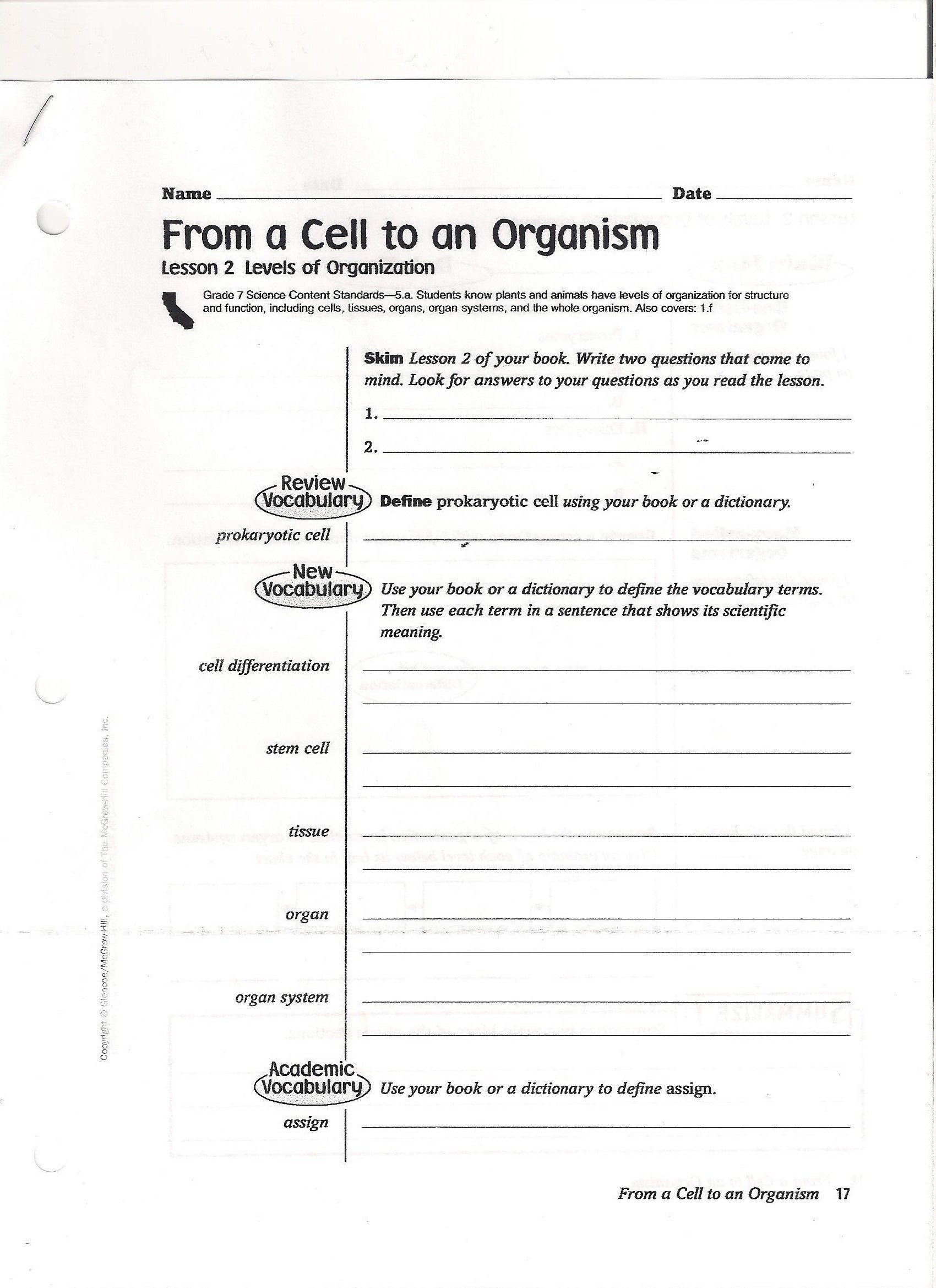 7th Grade Science Worksheets Pdf 8th Grade Reading Free Printable Science Experiment