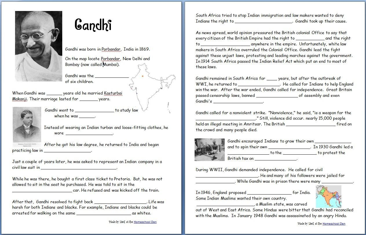 7th Grade World History Worksheets Gandhi Free Worksheets Notebook Pages Homeschool Den