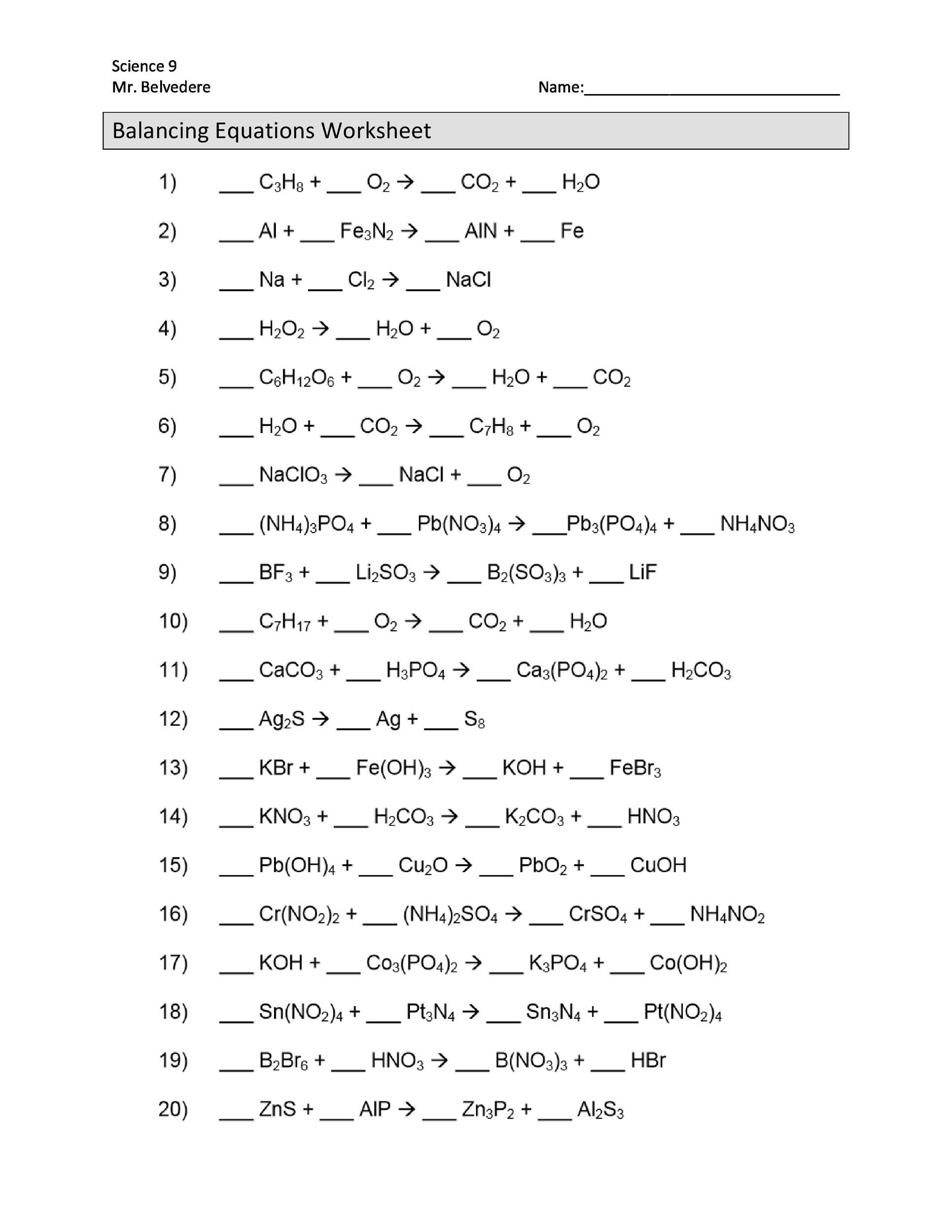 8th Grade Chemistry Worksheets 49 Balancing Chemical Equations Worksheets [with Answers]