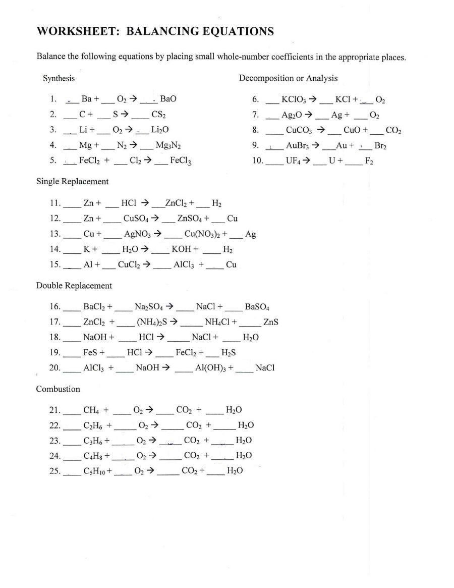 8th Grade Chemistry Worksheets Download Balancing Equations 28