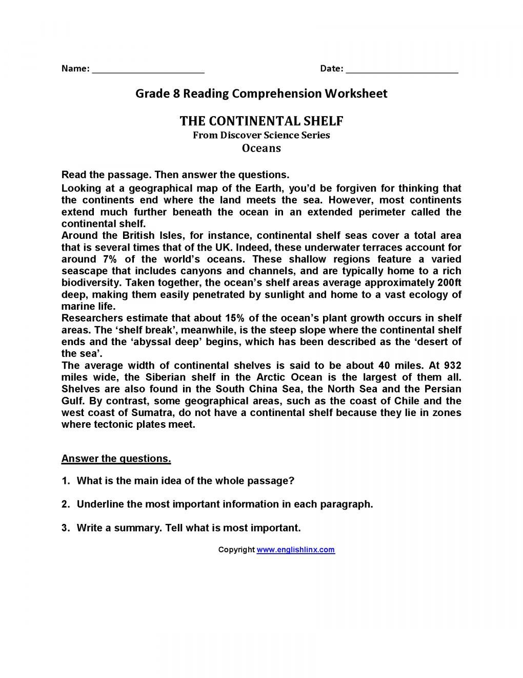 8th Grade Reading Worksheets 7 Reading Prehension Grade 8 Worksheet