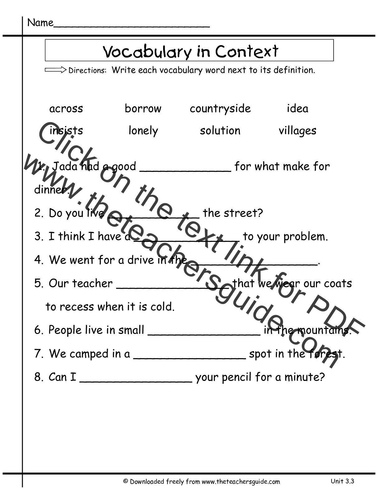 8th Grade Vocabulary Worksheets Pdf Definition Study Worksheet Read Write Think